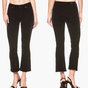 PAIGE-Colette High Waisted Crop Flare Velvet Pants